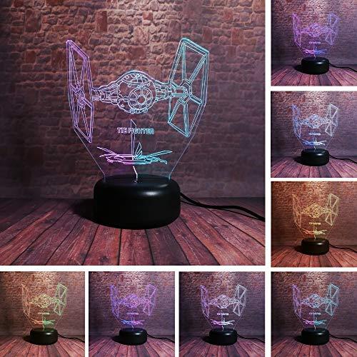Kreative Beleuchtung zweifarbige Fantasie TIE Kämpfer Raumschiff AA-Batterie und USB-Kabel Netzteil Kinder Weihnachtsgeschenke -