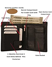 MOOCHIEF Men Genuine Leather Wallet (9 Card Slots) (Black)
