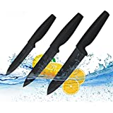 Ceramic Knife Set Black Professional 3 Pieces Sharp Knives with Sheaths