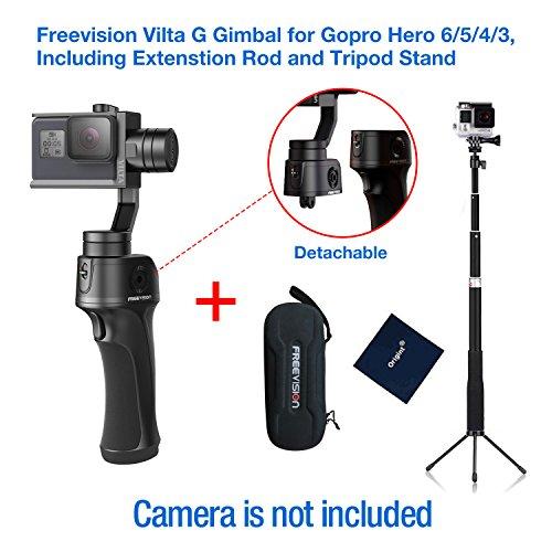 Freevision VILTA-G 3-Achsen-Stabilisator Handheld gimbal für Gopro HERO 6/5/4/3 +/3, Verlängerungsstange und Stativ (Motor Bottom Mount)