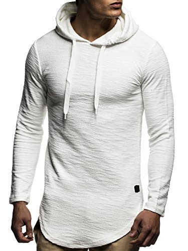 LEIF NELSON Herren oversize Sweatshirt mit Kapuze Hoodie Hoody LN6300; Größe M, Ecru