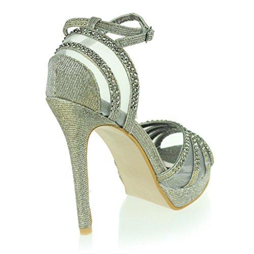 Femmes Dames Deux Parties Orteil Ouvert Ankle Strap Plateforme Diamante Mince Talon Haut Soir Fête Mariage Bal de Promo De Mariée Des sandales Chaussures Taille Étain