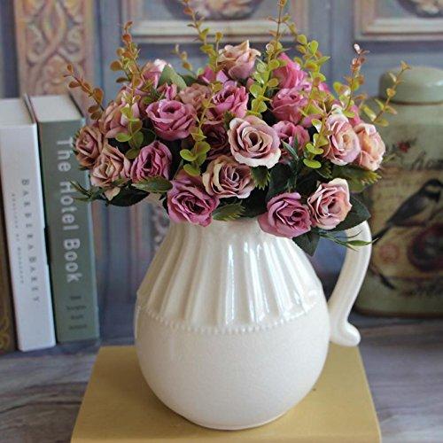 (MingXiao, der europäische Bündel künstliche Rosen-Blatt-Blumen-Blumenstrauß-Party-Garten-Rosa Wedding ist)