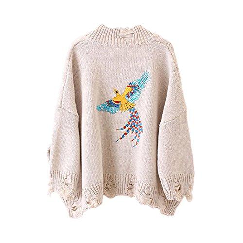 Shinekoo Femme Chandail Veste Knit Manteau Broderie Cardigan Bouton Pull Gilet Jacket Blanc