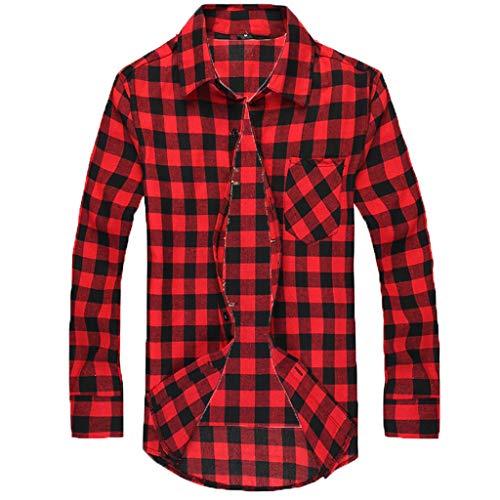 Notdark Herren Hemd Mode Karohemd Langarm Karohemd Slim Fit Stehkragen Männer Freizeithemd Shirt (XL,Rot)