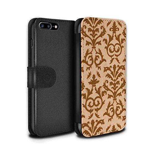 Stuff4 Coque/Etui/Housse Cuir PU Case/Cover pour Apple iPhone 7 Plus / Rose Design / Motif de défilement Collection Orange