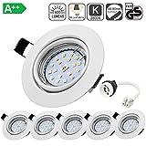 Spot LED Encastrables Orientable, Bojim 6x GU10 6W Lampe de Plafond Blanc Chaud Rond...