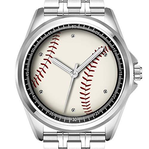 Personalisierte Herrenuhr, modisch, wasserdicht, Armbanduhr, Diamond_161.Baseballball, Sport, Rot/Weiß