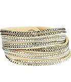 Caripe Damen Armband Wickelarmband Glitzer Steine viele Designs + Farben - strala (Modell 1 - creme)
