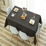 HSYLYM Karierte Tischdecke Cutton Leinen verschleißfest Atmungsaktiv Dicke Rechteckige Tischdecke Weiß Tischdecken für Partys, Schwarz, 52x95in(132x240cm)