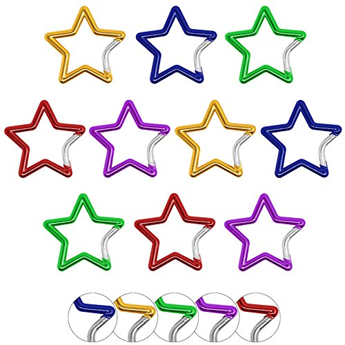 BB SPORT 10er Set Materialkarabiner Karabiner Star in Verschiedenen Farben Schlüsselanhänger Karabinerhaken Zubehörkarabiner, Farbe:Bunt