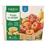 Blédina 4 Coupelles Fruits du Verger dès 6 mois