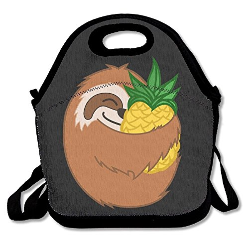 Preisvergleich Produktbild Pineapple Sloth Lunch Bags Insulated Travel Picnic Lunchbox Tote Handbag With Shoulder Strap For Women Teens Girls Kids Adults