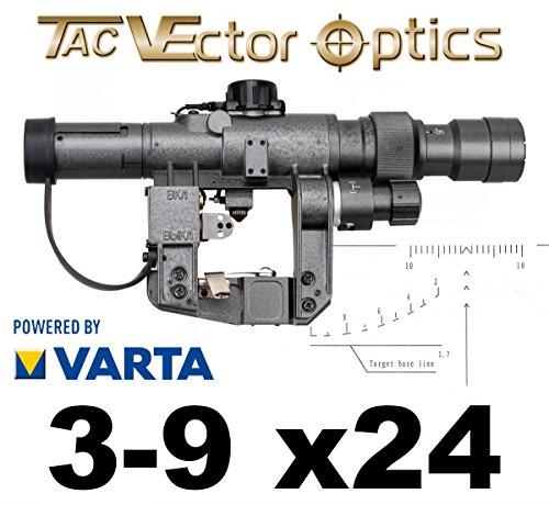 VECTOR-OPTICS Zielfernrohr AK47 / Dragunov 3-9x24 SVD Zieloptik, beleuchtetes Absehen auf 1. Bildebene mit Entfernungsskala.