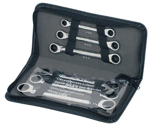 KS Tools 503.4557 GEARplus Doppel-Ratschenringschlüssel-Satz, 6-tlg. Lederetui