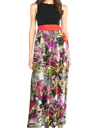 Vestidos Corto Mujer Elegante Largo Floral Mariposa Balanceo Verano Playa Casual Vestido (Large, Multicolor)