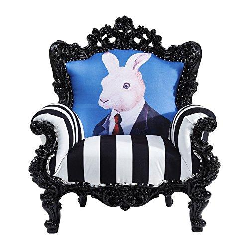 Kare design - Fauteuil Baroque lapin noir et blanc Mr Rabbit