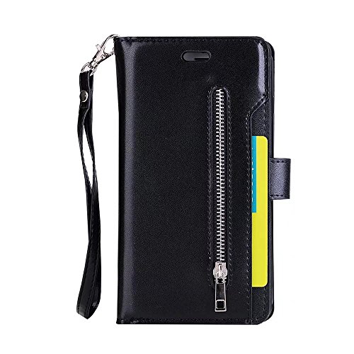 Xinan longjb per iPhone 7 Plus, Lusso Fashion Wallet Stand Case 9 in PU Pelle Protettiva Cover con chiusura a zip & Lanyard & Kick Stand Xinan longjb Black