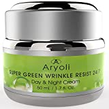 Natural Anti-Aging Super Green Moisturizing 24/7 Cream by Aryoli. Anti-Wrinkles Moisturizing Day and Night Cream for All Skin Types. With Organic Ingr