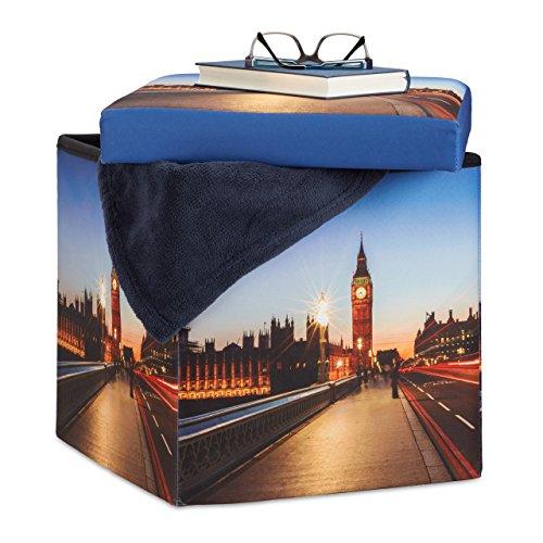 Relaxdays 10022865_491 Pouf Luminoso Cubo Contenitore al LED Motivo Big Ben Sgabello Pieghevole HLP: 38 x 38 x 38 cm Colorato