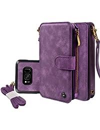 Amazon Skincare Funda Galaxy S8, Cornmi 14 Slot Series Cremallera Cash Storag Premium Flip Funda de Cuero con Estuche rígido magnético Desmontable para Samsung Galaxy S8 (Purple)