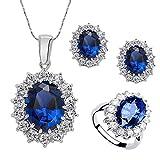 Xuxuou DamenSchmuckset Ring Halskette Ohrringe Kristall Strass Edelstein Schmuck Hochzeitsschmuck Partyschmuck (Blau)