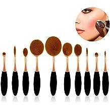 Sunroyal® Professionale Set 10 Spazzole da trucco Ovale, Pro HQ Pennelli trucco insieme di spazzola cosmetico compone le spazzole di fusione Concealer dell'ombretto del sopracciglio Fondazione ombra polvere Cosmetici corredo di attrezzi (Rosa Oro)