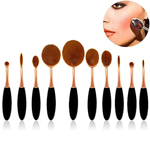 10 Stück Beauty Makeup Brush Set Zahnbürste Make-up Pinsel für Gesicht und Augen, Sunroyal Foundation (Stacking Legno)
