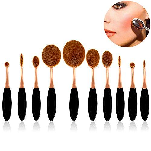 Pinceaux Maquillage 10 Pièces, Sunroyal® Outil de Maquillage Kits Brosse à Dents Ovale Cosmétiques Professionnels pour les Poudres, Anticernes, Contours, Fonds de Teints, Mélanges et Eyeliner Foundation Brush