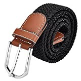 AYG Mens Belts Stretch Elastic Fabric Woven Canvas Belt(Black)
