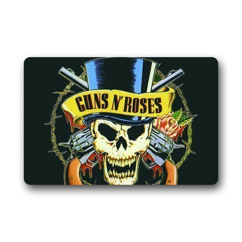 rongxincailiaoke Fußmatten Custom Guns N Roses Logo Skull Welcome Rug Indoor/Outdoor Mats Welcome...