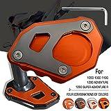 Motorrad CNC Seitenständer Verbreiterung Ständer Seite Ständer Verlängerung Teller Pad für KTM 1050 1090 1190 1290 Adventure ADV 1290 Super Adventure R Orange-Grau