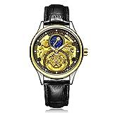 WJP Herren Ledergürtel Uhr, Hohle Mondphase Tourbillon Uhr, Wasserdichte automatische mechanische Uhr,3,cm