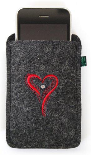 Feltro custodia per iphone 4/s ,3, antracite, cuore, ricamato, ornato con cristallo swarovski®;