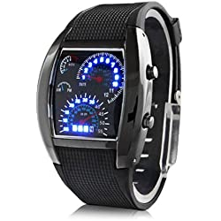 Lightinthebox® Blue LED Light Aviation Pilot Speedometer Dash Men's Binary Digital Wrist Watch