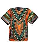Lofbaz Unisex Dashiki Tradicional de África Camisa Size XS Corazón Naranja