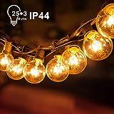 Adoric Innen/Außen-Lichterketten G40 Lichterkette mit Draht Glühbirnen|25+3Ersatzbirnen|7W|7,62m anschließbar Wasserdichte Beleuchtung...