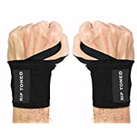 """Rip Toned Wrist Wraps 18"""" Professional Grade with Thumb Loops - Wrist Support Braces for Men & Women - Weight Lifting, Crossfit, Powerlifting, Strength Training - Bonus Ebook (Black Stiff)"""
