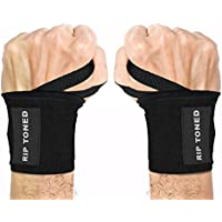 "Wrist Wraps by Rip Toned - 18"" Professional Grade With Thumb Loops - Wrist Support Braces for Men & Women - Weight Lifting, Xfit, Powerlifting, Strength Training - Bonus Ebook - Lifetime Warranty"