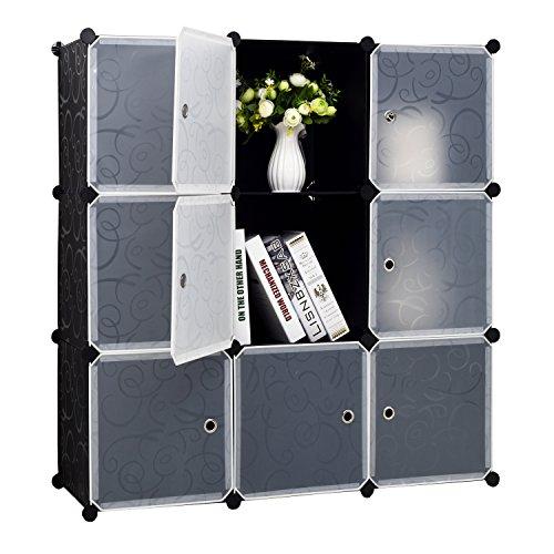 BASTUO 9-cube DIY-Würfel Organizer 3-tier Kunststoff-Regal Bücherregal Regal Organizer Kleiderschrank mit Tür, Schwarz und Weiß