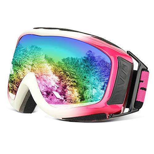 Skibrille Snowboardbrille Schutzbrillen Ski Snowboard Brille OTG UV400 Schutz Anti Fog Anti Nebel Schutz Ski Goggles Damen Herren Kinder Schneebrille Schibrille Ideal für Skifahren Snowboard(Rosa) -