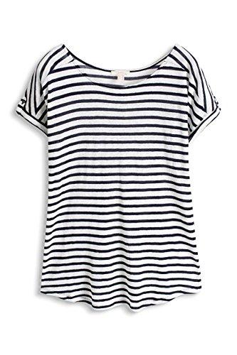 Esprit 056ee1k013-Striped, T-Shirt Femme Bleu (Navy)