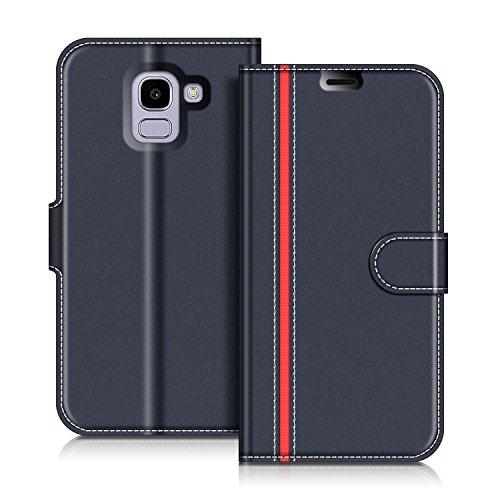COODIO Samsung Galaxy J6 2018 Hülle Leder, Samsung J600 Lederhülle Ledertasche Wallet Handyhülle Tasche Schutzhülle Magnetverschluss für Samsung J600 Galaxy J6 2018, Dunkel Blau/Rot