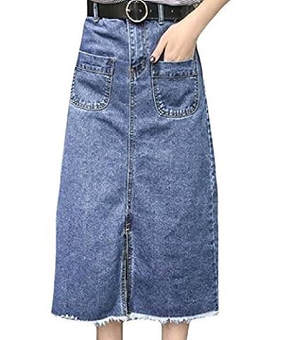 Tootlessly Women's High-waisted Summer Casual Denim Maxi Skirt Dark Blue M