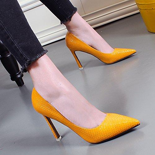 Tacchi Nuove Moda Sexy Gialli giallo Autunno Aghi Donne Da Coreana Khskx Donna Scarpe vFwwxZfR