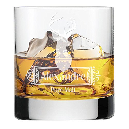Amikado Verre à Whisky cerf personnalisé avec Un prénom gravé