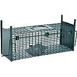 Lebendfalle 53 x 19 x 19 cm mit 2 Eingängen Drahtfalle / Rattenfalle mit Bissschutz & Trittbrett professionelle Tierfalle mit Rahmenverstärkung Türsicherung sofort einsatzbereit & pulverbeschichtet