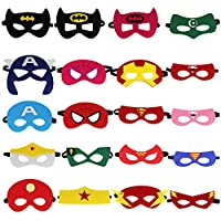 LYTIVAGEN 20Pcs Máscaras Superheroes Niños, Material de Fieltro y La Goma Elastica, Máscaras de Cosplay de Más de 2 Años, Ideal para Fiesta Superheroes, Regalo Accessorios de Navidad, Cumpleaño