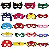 LYTIVAGEN 20Pcs Máscaras de Superhéroe, Máscara de Cosplay Suministros de Fiesta de Superhéroes, Máscaras Mitad de Fieltro yGoma Elastica, Accesorio de Fiesta Adulto y Infantil Mayores de 2 Años
