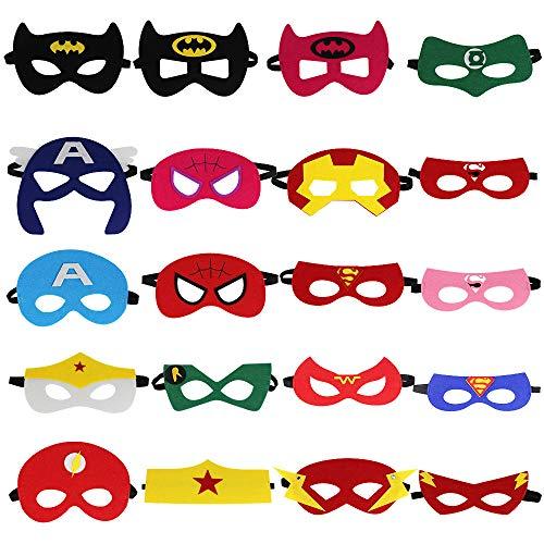 LYTIVAGEN 20er Superhelden Maske, Batman Maske,Superman maske mit Elastischen Seil Kinder Maske für Kinder, Weihnachten, Halloween, Party, Geburtstag,Cosplay